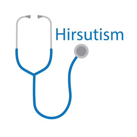 Hirsutism word and stethoscope icon- vector illustration