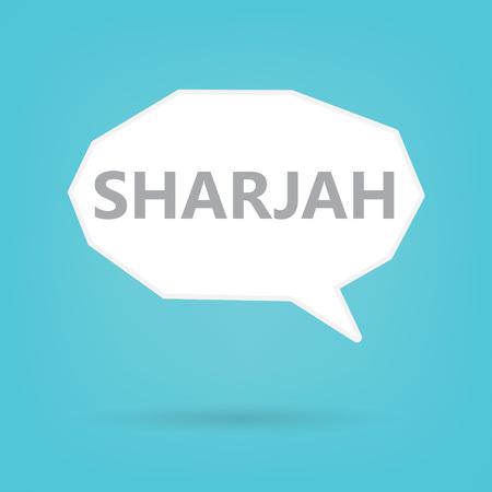 Sharjah word on a speech bubble- vector illustration