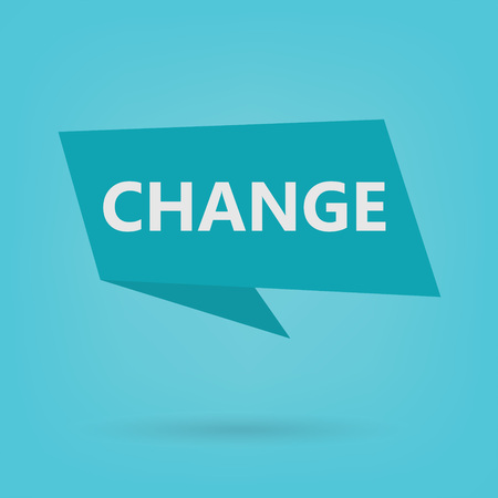 change word on a sticker- vector illustration