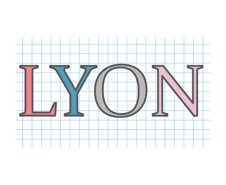 Lyon word on checkered paper texture- vector illustration Illustration