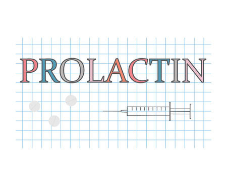 prolactin word on checkered paper sheet- vector illustration