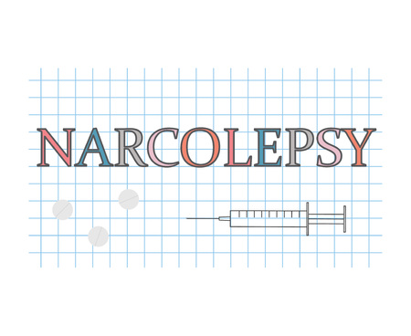 narcolepsy word on checkered paper sheet- vector illustration Stock Vector - 117121208