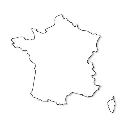 black and white map of France- vector illustration