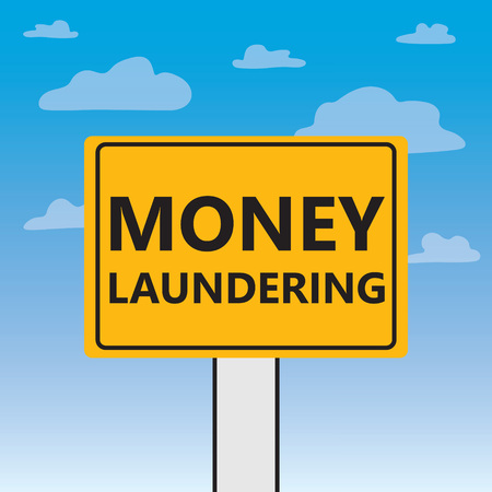 money laundering written on a billboard- vector illustration Banque d'images - 117121970