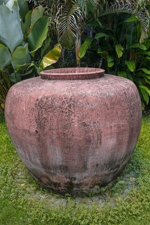 clay amphora against banana palm in the garden Banco de Imagens