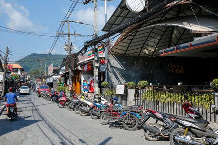 Lamai, Koh Samui, Thailand, february 27, 2019: one of the colorful street with restaurants, massage salons in Lamai Redakční