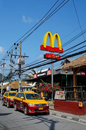 Lamai, Koh Samui, Thailand, february 27, 2019: exterior of McDonalds Restaurant in Lamai