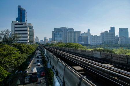 Bangkok, Thailand, March 5, 2019: BTS Sky train station against Silom district Redakční