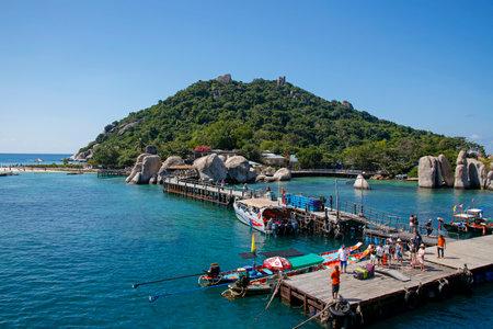 Koh Nang Yuan, Thailand, february 21, 2019: ferry harbor on a beautiful Koh Nang Yuan Island near Koh Tao in Thailand. Its a popular diving destination