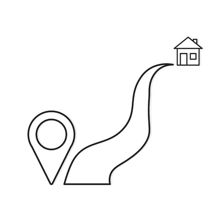 road to home with pin pointer icon- vector illustration
