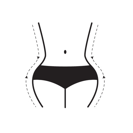 curvy woman silhouette, weight loss icon- vector illustration