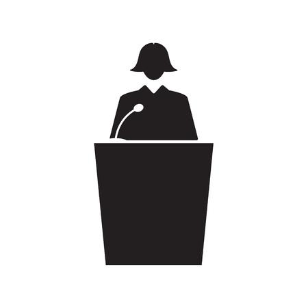 female business speaker icon- vector illustration Illustration