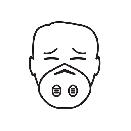 man wearing smog mask icon- vector illustration