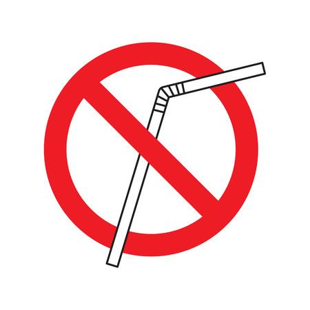 no plastic straw icon- vector illustration