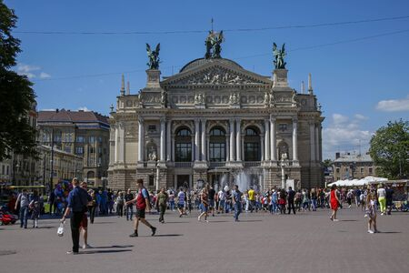 Lviv, Ukraine - june 1, 2019: facade of Lviv Theatre of Opera and Ballet located on Freedom Avenue. Its most popular Lviv landmark