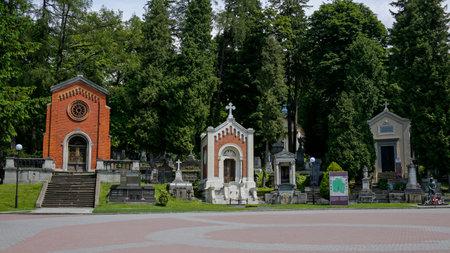 Lviv, Ukraine - june 2, 2019: one of the lane in the Lychakiv Cemetery. Its the oldest historic necropolis of Lviv. Redakční