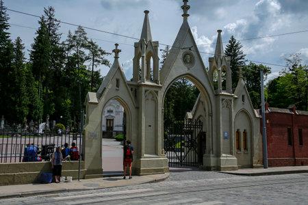 Lviv, Ukraine - june 2, 2019: Entrance gate to the Lychakiv Cemetery. Its the oldest historic necropolis of Lviv. Redakční