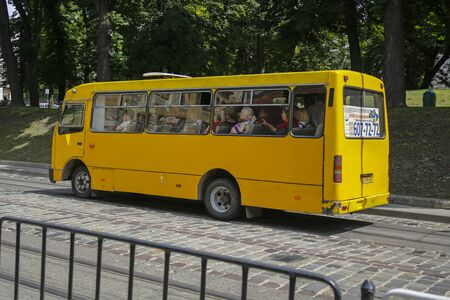 Lviv, Ukraine - june 2, 2019: old yellow public bus on one of the street in Lviv