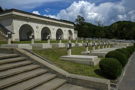 Lviv, Ukraine - june 2, 2019:  Cemetery of the Lwów Eaglets, part of the Lychakiv Cemetery. Its the oldest historic necropolis of Lviv.