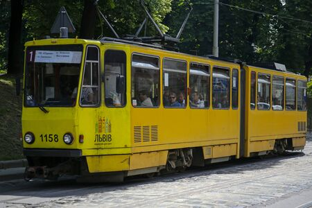 Lviv, Ukraine - june 2, 2019: old tram number 1 on one of the street in Lviv