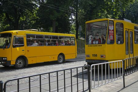 Lviv, Ukraine - june 2, 2019: old bus and tram number 1 on one of the street in Lviv