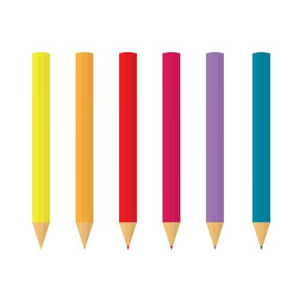 colorful pencils in a row- vector illustration