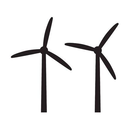 mulino a vento, icona della turbina eolica-illustrazione vettoriale Vettoriali