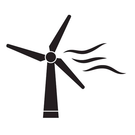windmill, wind turbine icon- vector illustration