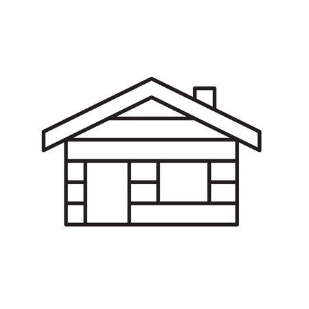 cabaña, cabaña, icono, vector, ilustración