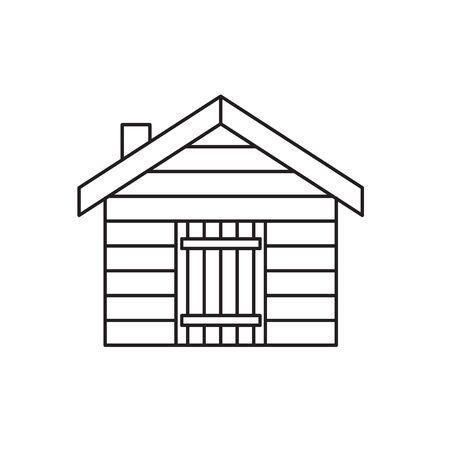 log cabin, cottage icon- vector illustration