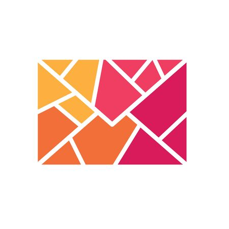 colorful geometric envelope icon- vector illustration