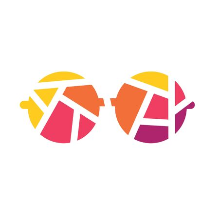 colorful geometric eyeglasses icon- vector illustration