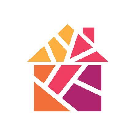 colorful geometric house icon- vector illustration Ilustrace