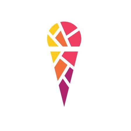 colorful geometric ice cream icon- vector illustration