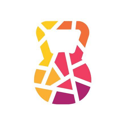 colorful geometric kettlebell icon- vector illustration