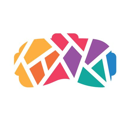 colorful geometric virtual reality VR headset icon- vector illustration