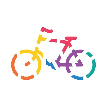 colorful geometric bike icon- vector illustration