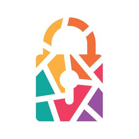 colorful geometric padlock icon- vector illustration