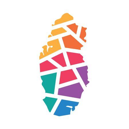 colorful geometric Qatar map- vector illustration