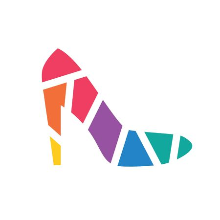 colorful geometric high heels shoes icon- vector illustration