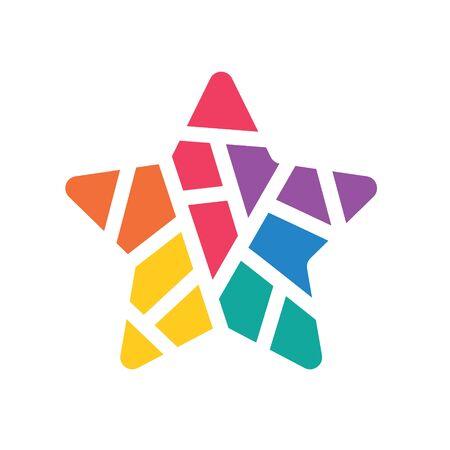 colorful geometric star icon- vector illustration