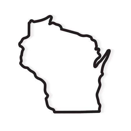 black outline Wisconsin map- vector illustration