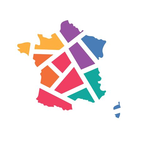 colorful geometric France map- vector illustration