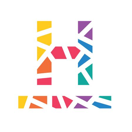 colorful geometric letter H or hotel sign- vector illustration
