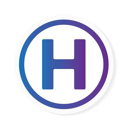 gradient letter H or hotel sign- vector illustration