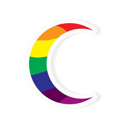 moon or letter C textured with rainbow sticker- vector illustration