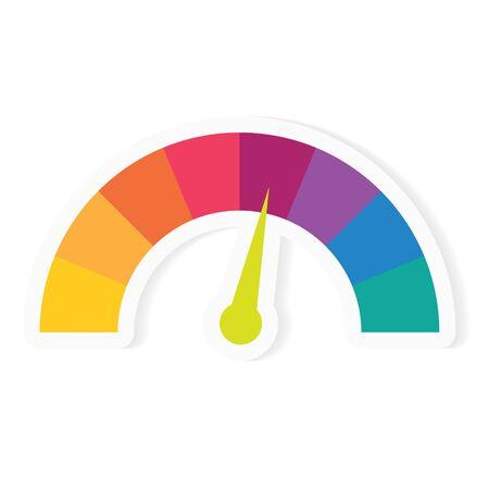colorful speedometer icon- vector illustration