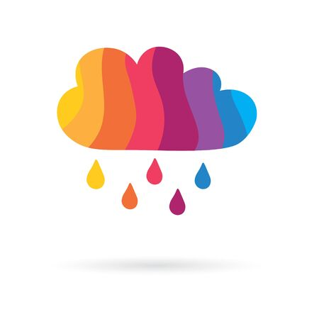 colorful cloud with rainy drops icon- vector illustration