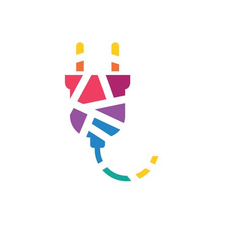 colorful geometric electric plug icon- vector illustration Stock Illustratie