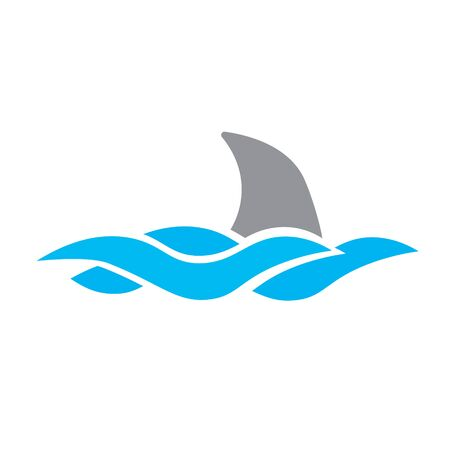 shar fin and sea waves icon- vector illustration
